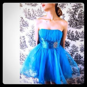 Dresses & Skirts - Turquoise babydoll style party dress NWT